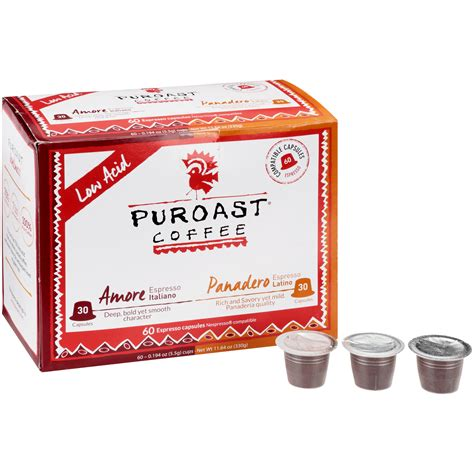 Puroast coffee is clear about their claim to fame: Puroast Amore & Panadero Espresso Low Acid Coffee Pods, 60 ct - Walmart.com - Walmart.com