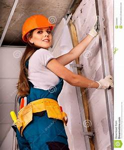 Woman In Builder Uniform  Stock Image  Image Of Ladder