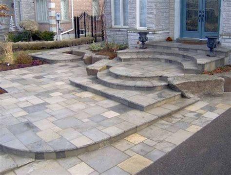 patio steps with flag slate patio