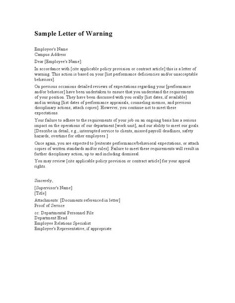 How To Write A Cv Sle by Employee Warning Letter Template Letters Free Sle Letters