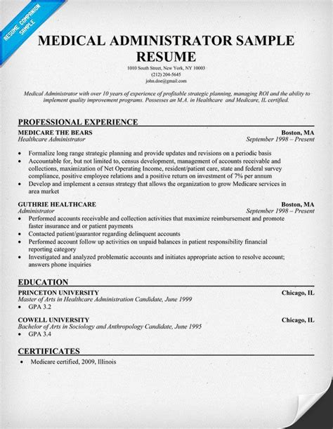 How To Make A Med School Resume by Administrator Resume Med School