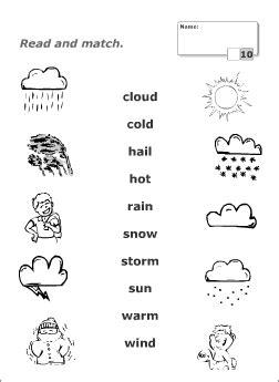 weather vocabulary  kids learning english printable