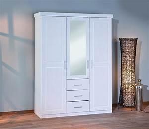 Armoire Chambre Blanche : armoire geraldo blanche 3 portes 3 tiroirs ~ Teatrodelosmanantiales.com Idées de Décoration