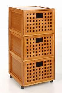 Meuble Bambou Salle De Bain : meuble sdb 3 tiroirs bambou ~ Teatrodelosmanantiales.com Idées de Décoration