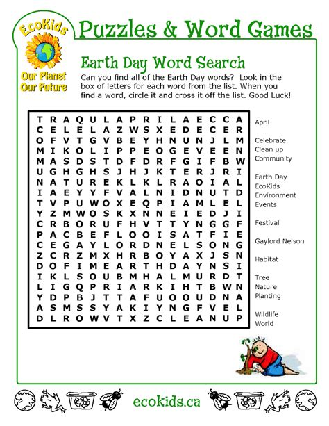 top 10 earth day word search printable for