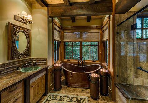 wooden storage box 20 rustic bathroom designs with copper bathtub