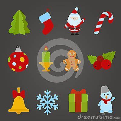 christmas vector flat design icon set happy   stock
