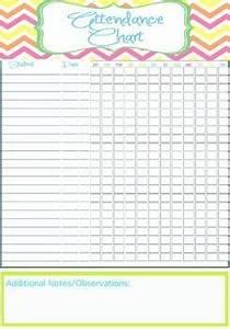 Sunday School Attendance Chart Template Teacher Attendance Chart Printable Instant Editable