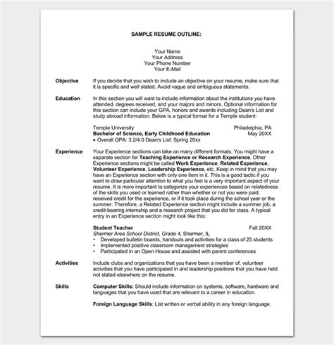 Resume Outlines Free by Student Resume Outline Sle Outline Templates Create
