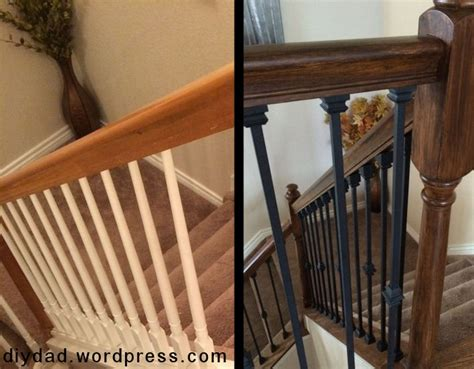 replacing a banister and spindles replacing wood balusters with wrought iron sort of diy