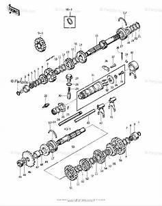 Kawasaki Motorcycle 1975 Oem Parts Diagram For Transmission  Change Drum   U0026 39 74
