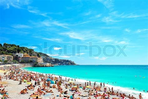 View Of The Beach In Nice France Near The Promenade Des