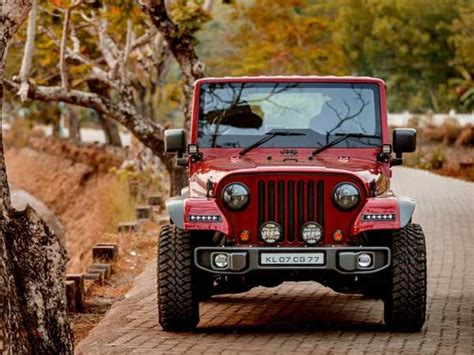 thar jeep modified in kerala mahindra thar disguised as a jeep wrangler drivespark news