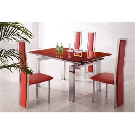extending glass dining table maxi 6 x d231 chairs set
