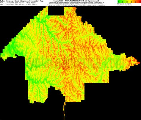 tyler county west virginia topo maps elevations