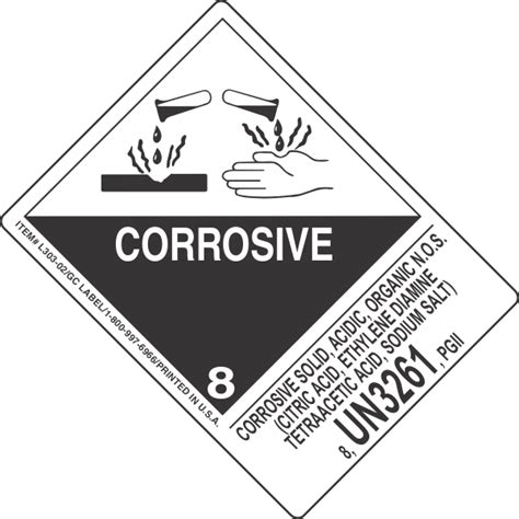 corrosive solid acidic organic n o s citric acid