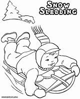 Coloring Sled Pages Sledding Snow sketch template