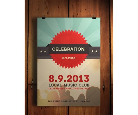 poster template psd celebration flyer psd template retro flat modern design template for your club nightclub