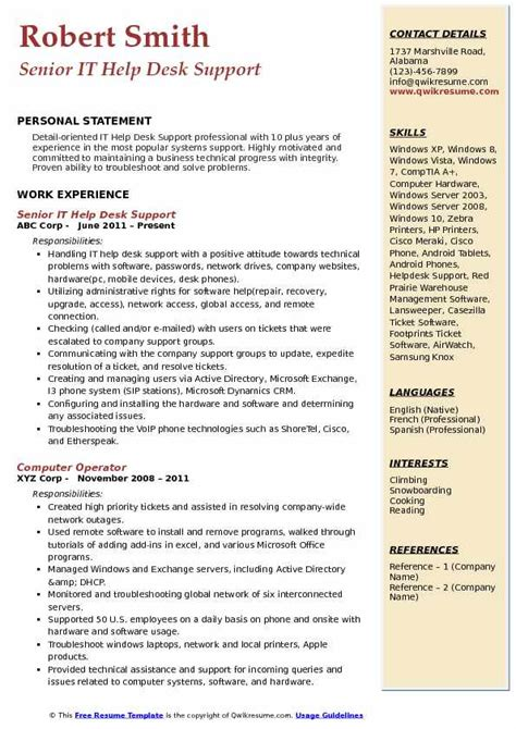 it help desk support resume sles qwikresume