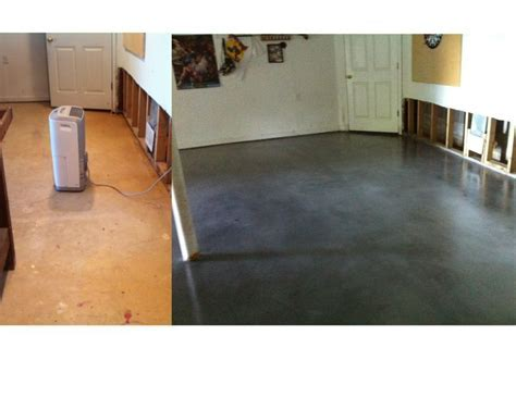 Stained Concrete overlay applied to basement floor; 30%