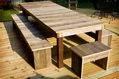table benches    deck boards  wood table