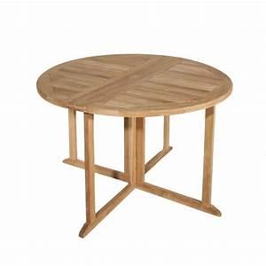 Table Ronde En Teck : table de jardin en teck ronde pliante papillon 120cm ~ Teatrodelosmanantiales.com Idées de Décoration