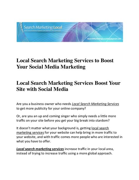 Local Marketing Services - local search marketing services to boost your social media