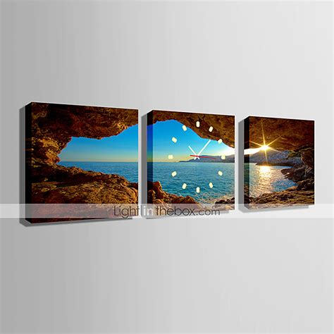 modern scenic wall clock in canvas set of 3 447359 2017