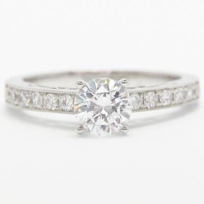 filigree designer engagement ring 14k white gold