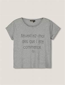 T Shirt Avec Message : t shirt manches courtes col rond coupe cropped manches retrouss es top message r veillez ~ Nature-et-papiers.com Idées de Décoration