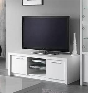 Meuble Tv Hifi : meuble tv plasma fano laque blanc brillant blanc l 150 x h 50 x p 50 ~ Teatrodelosmanantiales.com Idées de Décoration