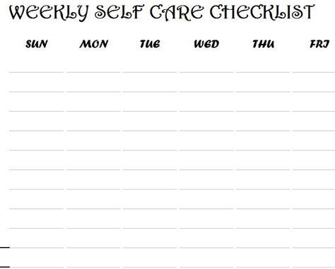 weekly  care checklist  excel templates