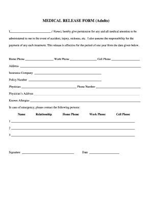 18606 emergency release form release form for adults fill printable