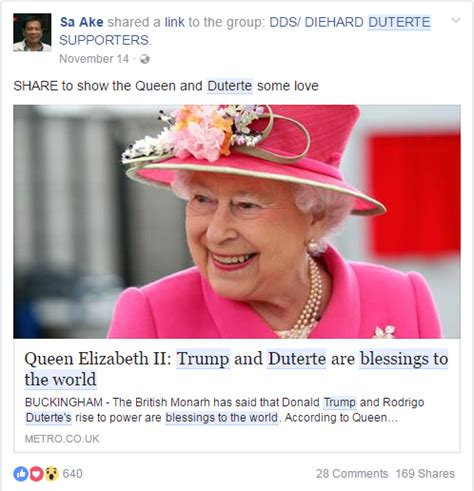 Queen Memes - busted queen elizabeth ii did not say trump duterte are blessings to the world