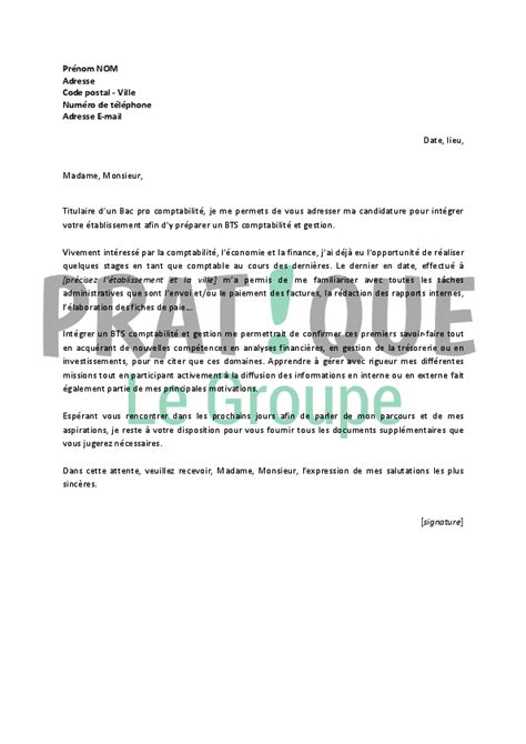 lettre de motivation aide cuisine lettre de motivation pour un bts comptabilité et gestion