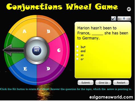 conjunctions wheel  fortune game english guideorg