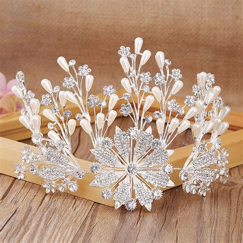 kepingan salju bentuk kristal tiara pengantin gaun toast