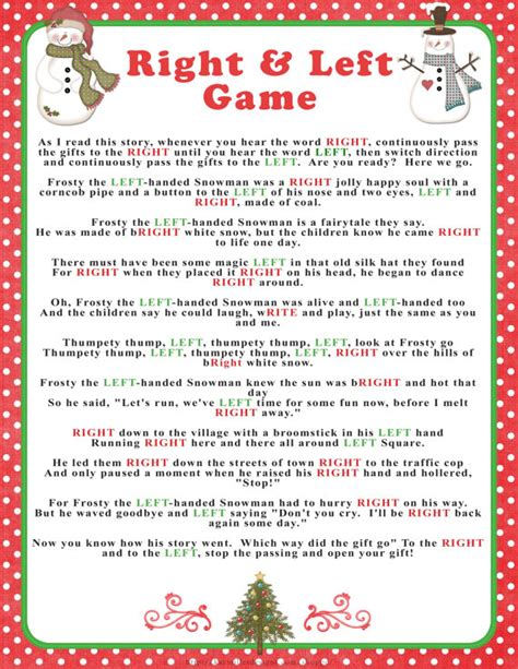 items similar to winter quot right left quot story game in reds and greens baby or bridal shower game
