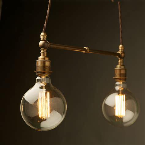 led light bulb two light shade brass e27 pendant