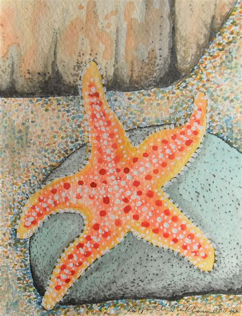waving starfish painting by kathryn pinkham