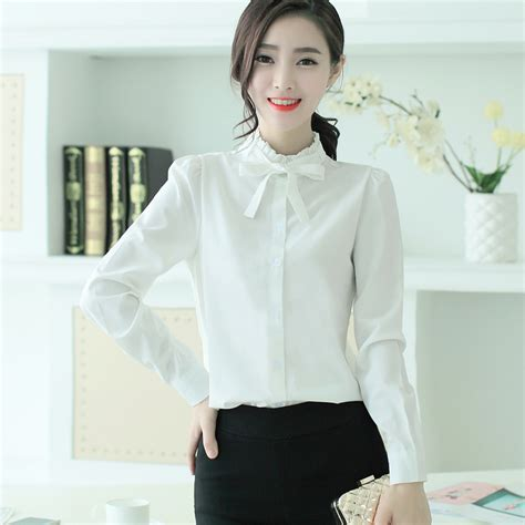 blouse with bow collar ruffle collar shirt bow tie chiffon button blouse
