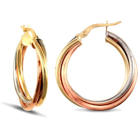 jewelco 9ct 3 colour gold russian wedding ring 3mm hoop earrings 25mm ebay