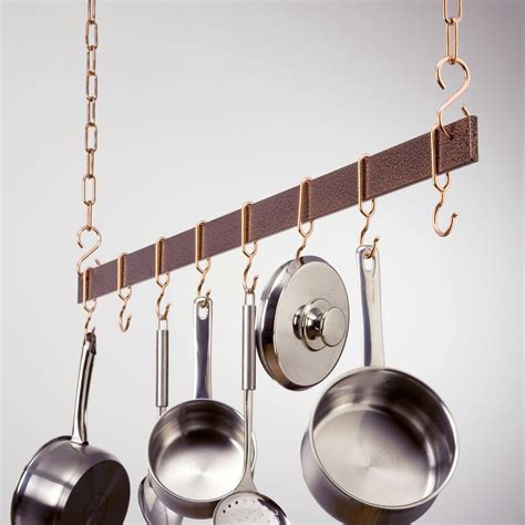 How To Install A Hanging Pot Rack by Hammered Copper Hanging Bar Pot Rack Pot Racks At Hayneedle