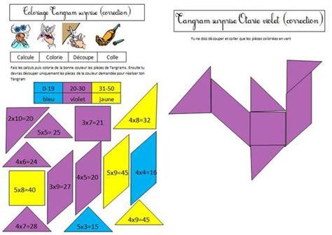 coloriage tangram magique sur les tables de multiplication 2 3 4 5 math
