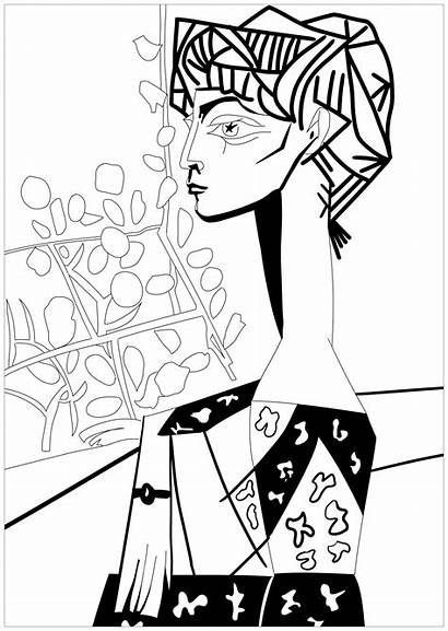 Picasso Coloring Pages Pablo Jacqueline Flowers Drawing