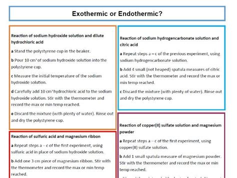 exothermic and endothermic reactions worksheet middle