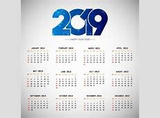 2019 New Year Calendar 2019 design 9To5AnimationsCom