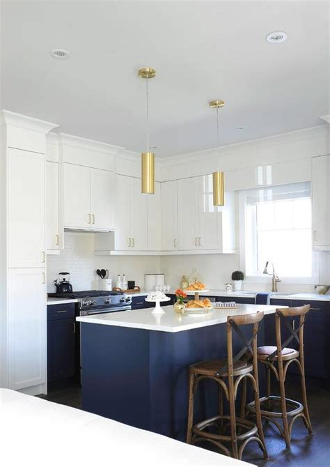 White and Blue Kitchen with Gold Accents   Transitional