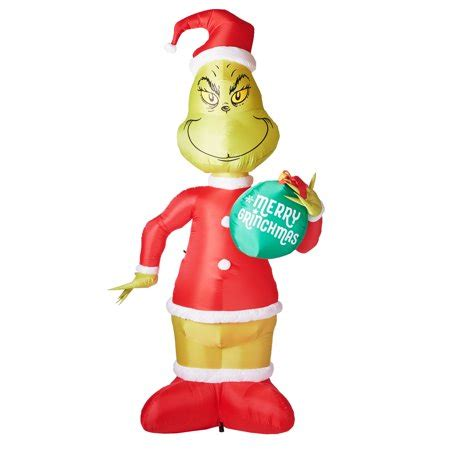 grinch inflatable gemmy industries airblown grinch with ornament 11 walmart
