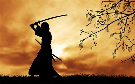 Samurai, Japanese Clothes, Katana, Silhouette, Trees